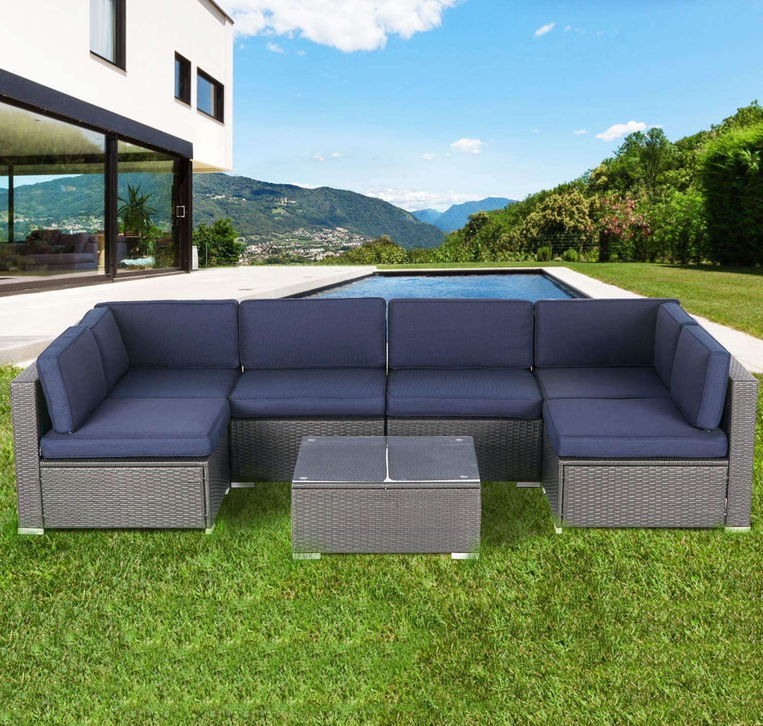 Incbruce Outdoor Patio Furniture Set 7-Piece All-Weather Sectional Sofa Outside Couch, Manual Weaving Wicker Rattan Conversation Set with Glass Top Table and Removable Cushions (Navy Blue)