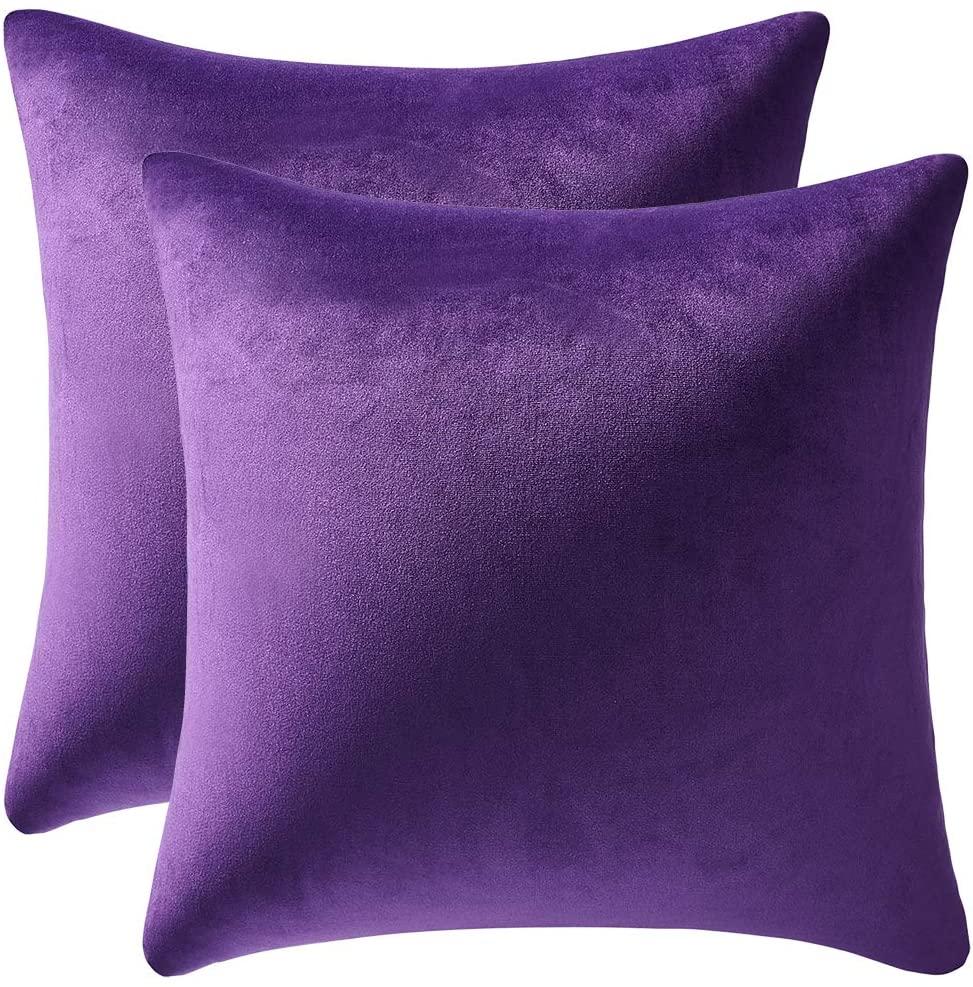DEZENE 20x20 Throw Pillow Cases Purple: 2 Pack Cozy Soft Velvet Square Decorative Pillow Covers for Farmhouse Home Decor