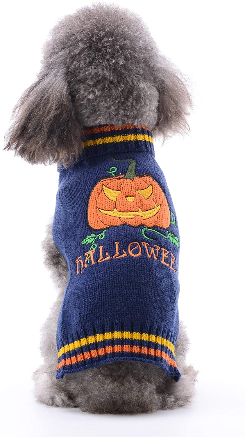 PETCARE Halloween Dog Clothes Warm Knit Turtleneck Dog Sweater Vest for Extra Small Medium Dogs Cats Pumpkin Pattern Pullover Pet Cute Halloween Costume for Fall Winter Fashion Dog Jumper