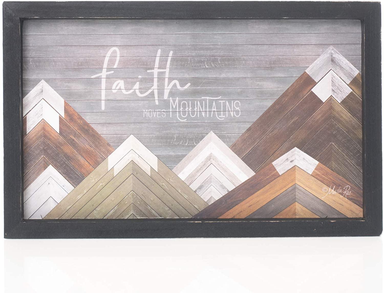 Dicksons Faith Moves Mountains Chevron Plank 10 x 5 Wood Tabletop Plaque