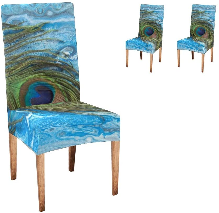 XIUCOO Custom Stretch Chair Covers Protector Blue Peacock Feathers Comfort Soft Seat Covers Slipcovers for Dining Room Party(Set of 2)