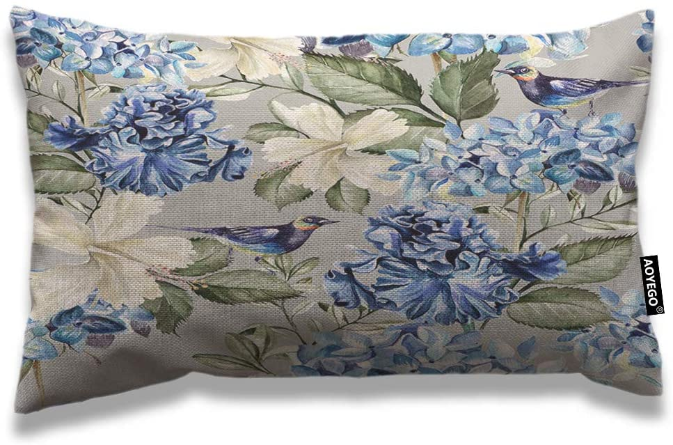 AOYEGO Floral Throw Pillow Cover 12x20 Inch Spring Plant Flowers Hydrangea Hibiscus Iris Bird Leaf Rectangle Pillow Cases Home Decorative Cotton Linen Cushion Cover for Bed Sofa Blue Green