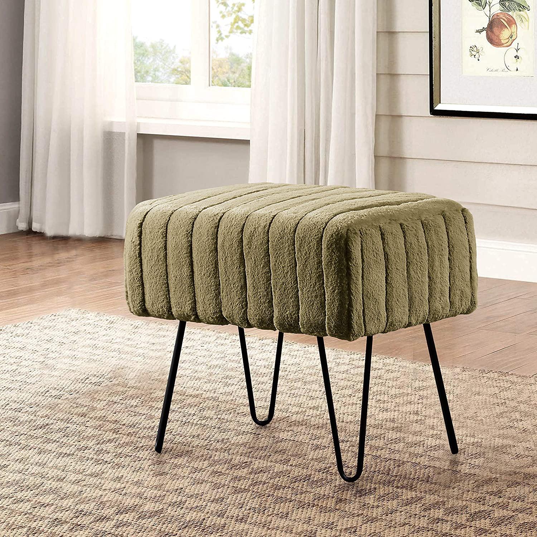 Home Soft Things Serenta Super Mink Faux Fur Ottoman Bench, 19