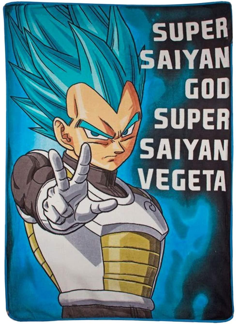 JUST FUNKY Official Dragon Ball Z Super Saiyan God, Super Saiyan Vegeta Premium Warm Fleece Throw Wall Hanging Tapestry/Fleece Throw Blanket