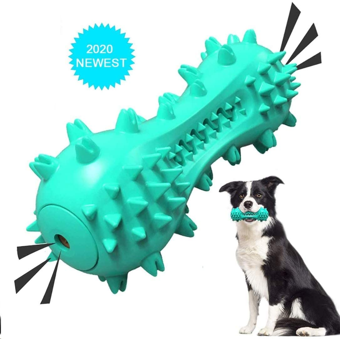 ISKYDRAW Dog Toothbrush Chew Toys, Newest Squeaky Dog Toy Durable Natural Rubber Puppy Brushing Stick Bones Effective Dental Oral Care Teeth Cleaning for 25-70lbs Small Medium Dogs Pet