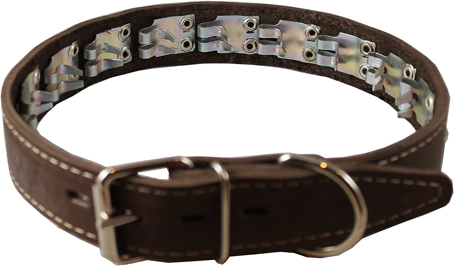 Training Pinch and Genuine Leather Studded Dog Collar Fits 21