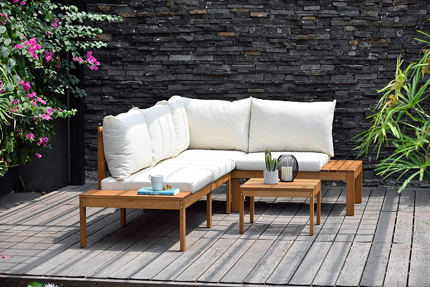 Brampton Lincoln 4-Piece Patio Sectional Set | Eucalyptus Wood and Off-White Cushions | Ideal for Outdoors and Indoors