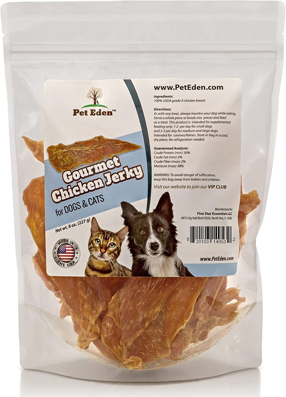 Pet Eden Natural Grain Free Chicken Jerky Dog and Cat Treats, 8 oz. Strips
