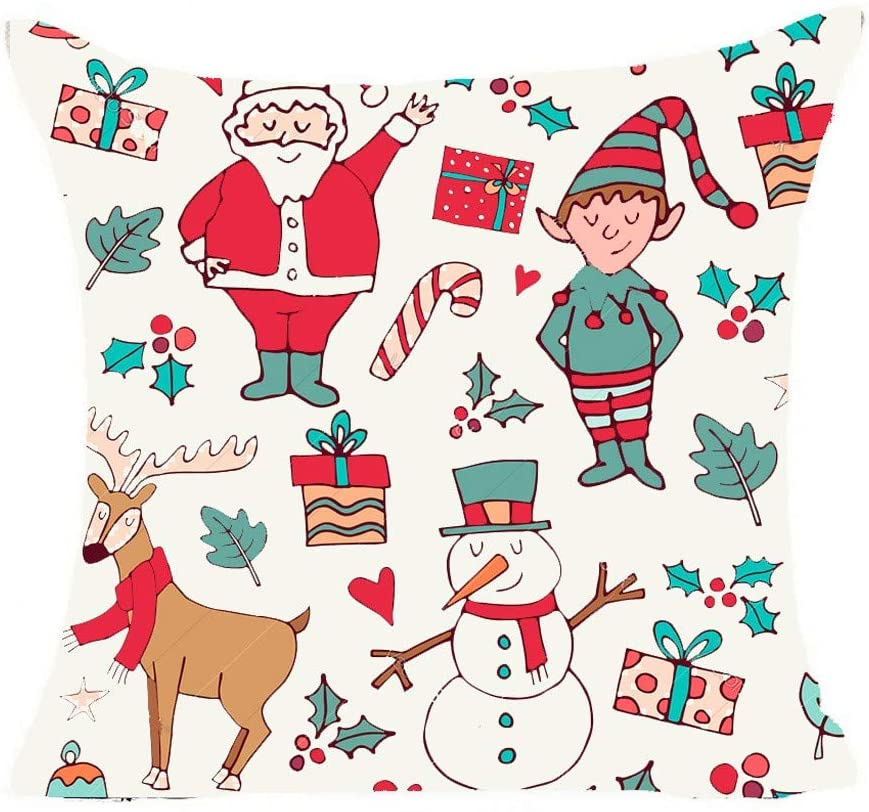 Newdiva Christmas Pillows Cover Decor Pillow Case Sofa Waist Throw Cushion Cover 1PC