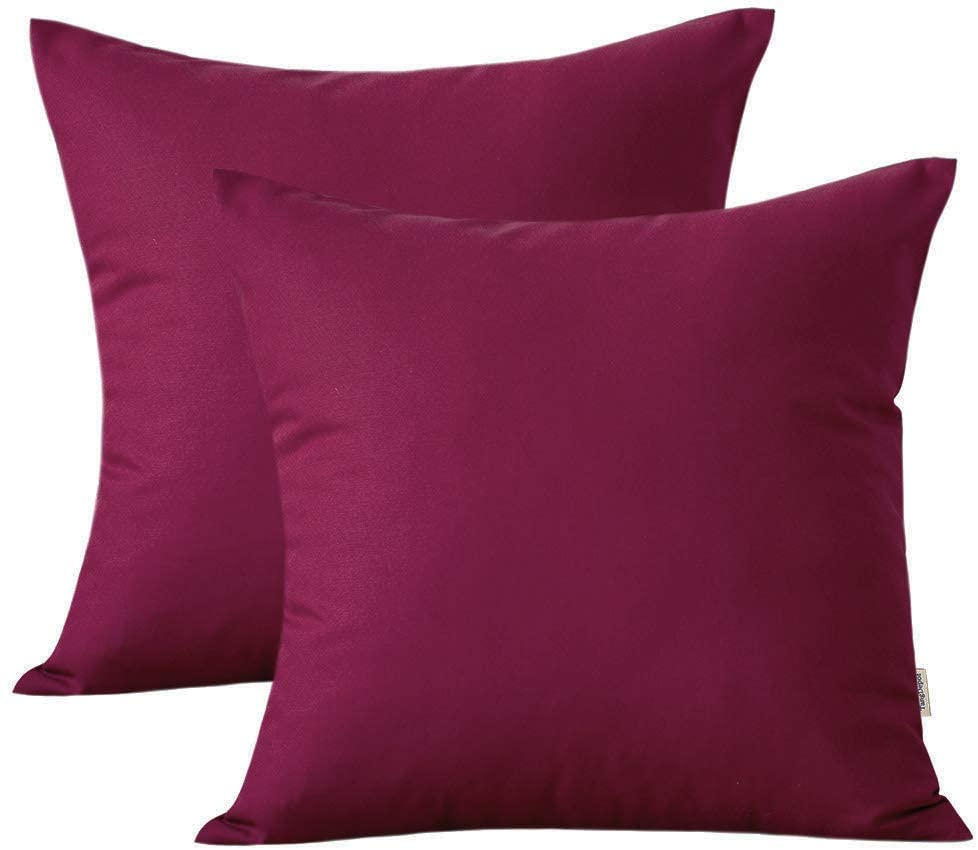 TangDepot Set of 2, 100% Cotton Fine Canvas Decorative Pillow Covers, Cushion Covers - (22x22 2 Pieces, Raspberry Red)
