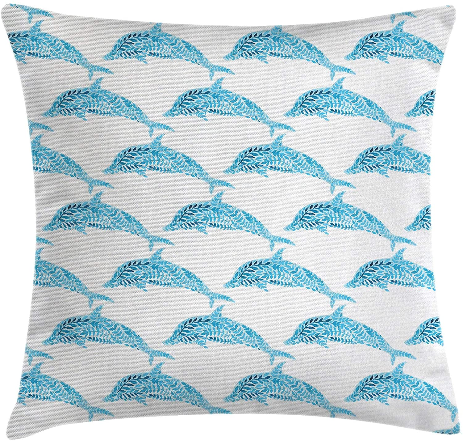 Ambesonne Sea Animals Throw Pillow Cushion Cover, Aquatic Dolphin with Leaf Ornamentals Abstract Artwork Playful Fish, Decorative Square Accent Pillow Case, 18