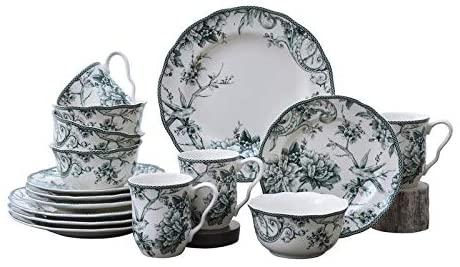 MISC Green 16 Piece Dinnerware Set Floral Porcelain Pieces