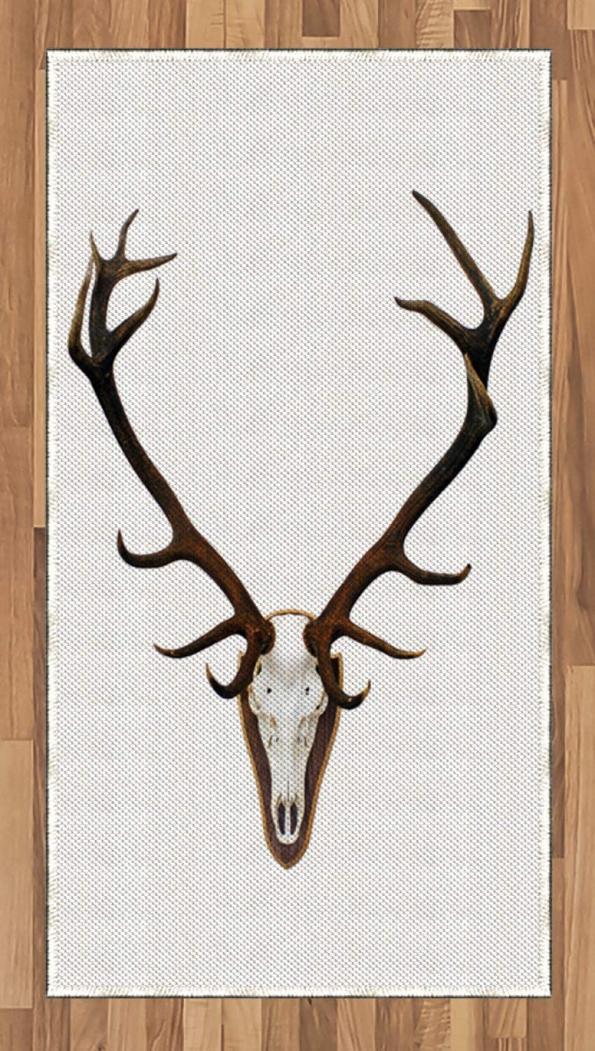 Ambesonne Antlers Area Rug, Antlers of a Huge Stag Bones Mounted on a Wooden Plate Prize Skull Print, Flat Woven Accent Rug for Living Room Bedroom Dining Room, 2.6 x 5 FT, Brown and Pale Grey