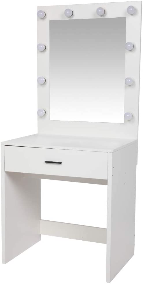 Onlyway Light Luxury Dressing Table Oversized Vanity Mirror with Light Cannon White