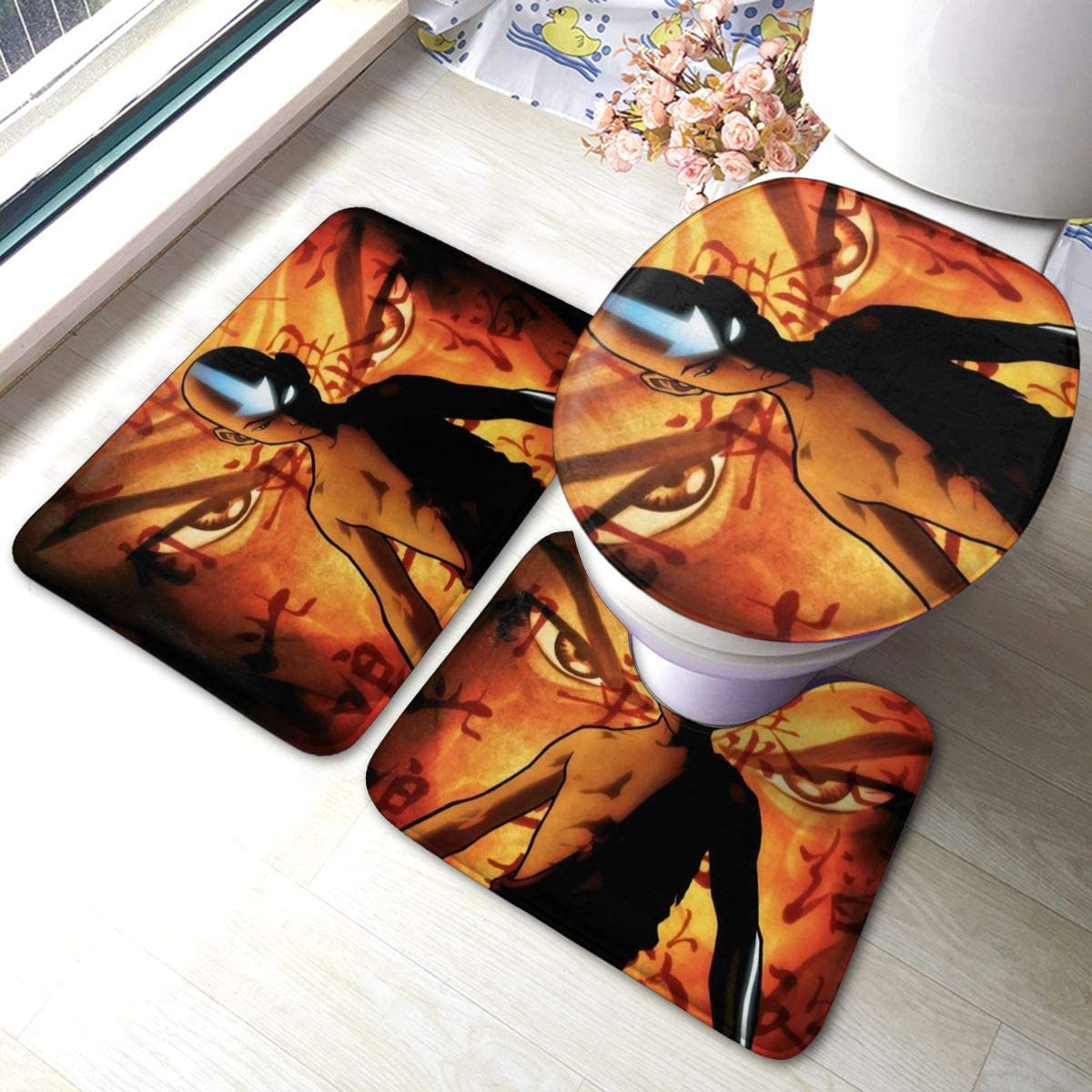 The Last Legend Airbender of Korra Aang Bathroom Rugs Set Rubber-Backed Non-Slip 3 Piece Toilet Set Durable Bathroom Mats, Non-Slip Bathroom Floor Mat+ U-Shaped Toilet Mat + Toilet Seat Cover