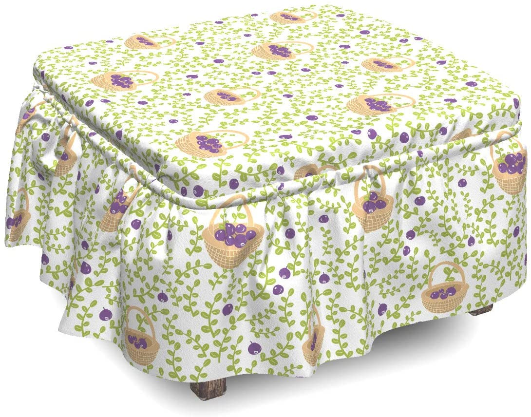 Lunarable Fruits Ottoman Cover, Foliage Branches and Berries, 2 Piece Slipcover Set with Ruffle Skirt for Square Round Cube Footstool Decorative Home Accent, Standard Size, Beige Apple Green Purple