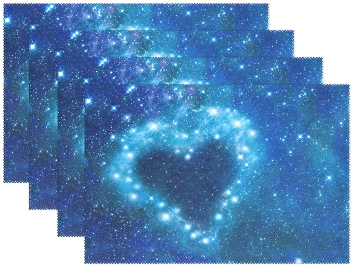 ALAZA Valentines Day Galaxy Heart Placemat Plate Holder Set of 4, Polyester Table Place Mats Protector for Kitchen Dining Room 12