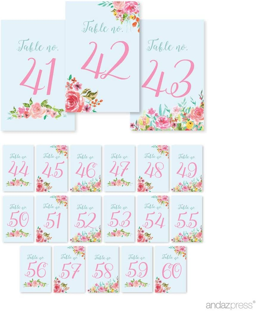 Andaz Press Pink Roses English Tea Party Tea Party Wedding Collection, Table Numbers 41-60 on Perforated Paper, Single-Sided, 4 x 6-inch, 1 Set