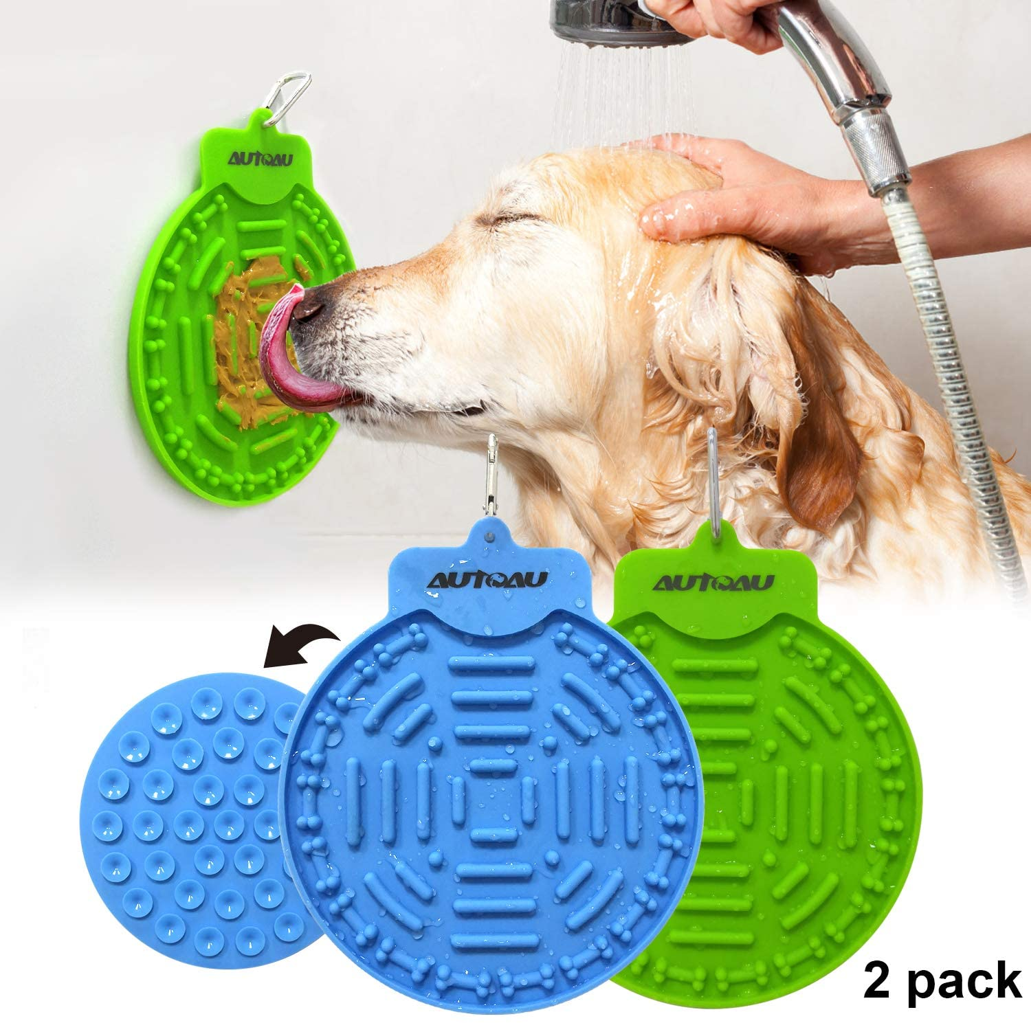 Autoau Dog Bath Lick Mat Powerful Suctions to Wall Dog Bathing Distraction Device Dog Slow Feeder Tray for Easy and Fun Shower Pet Bathing Grooming Training Dog Licking Pad