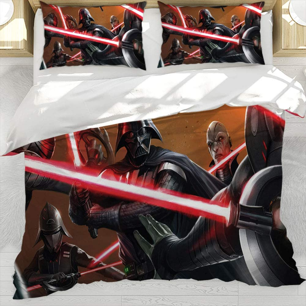 Glenn Longfellow Duvet Cover Bedding Set Star Wars Printed Decorative Bedding with Zipper Ties Decorative 3 Piece Bedding Set with 2 Pillow Shams Queen