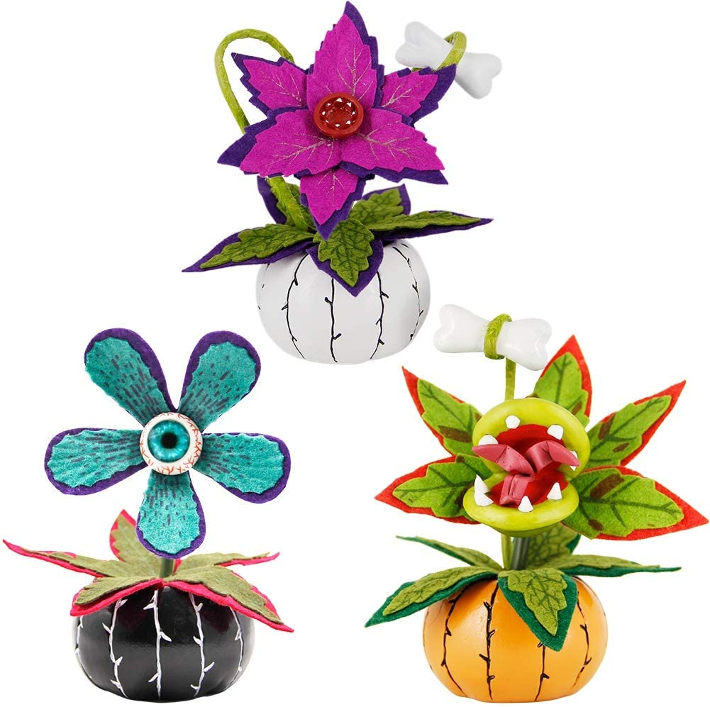 ATDAWN Halloween Table Decorations, Set of 3 Halloween Flowers Decoration, Halloween Table Centerpieces, Artificial Fake Corpse Flowers for Halloween Indoor Home Tabletop Haunted House Decorations