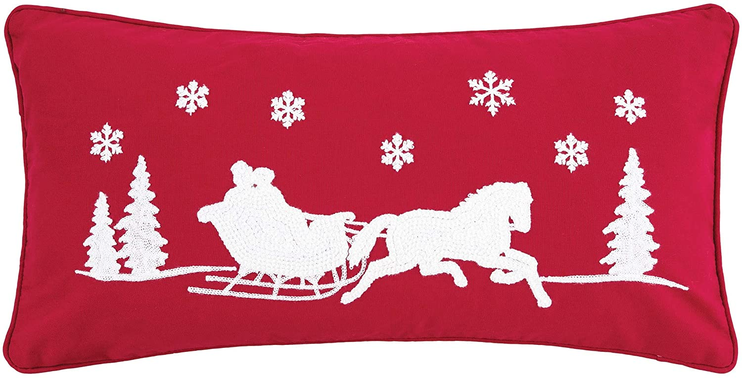 C&F Home Sleigh Ride Pillow 1 Christmas Xmas Horse Decorative Throw Pillow for Couch Chair Living Room Bedroom 12 x 24 red