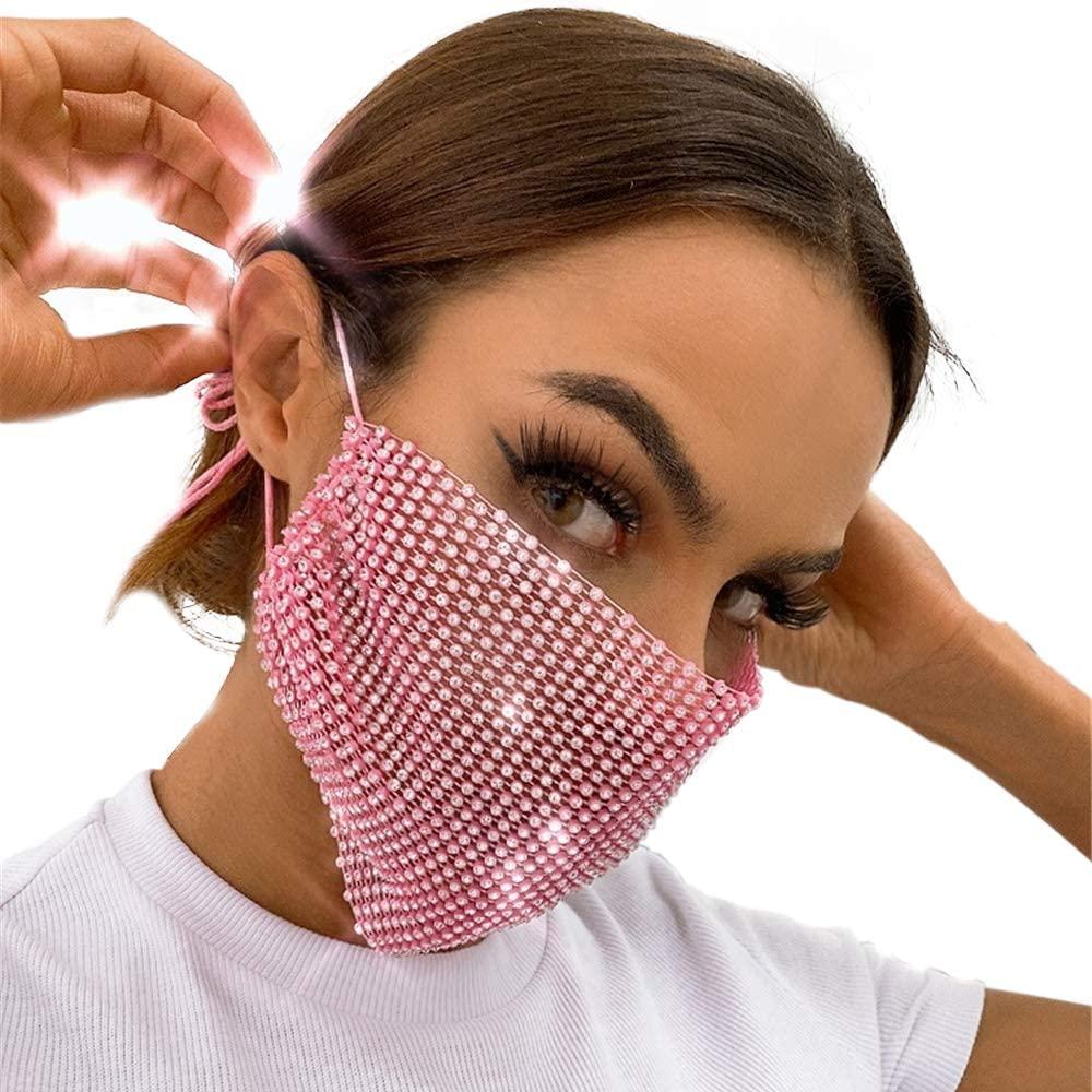 Halloween Masquerade Mask for Women Bling Crystal Ball Dance Party Mardis Gras Disco Chain Mask for Women Girls