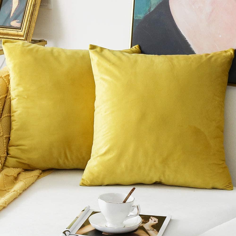 NATUS WEAVER Pack of 2,Velvet Soft Soild Decorative Square Throw Pillow Cover Set Cushion Case for Sofa Living Room Car 18 x 18 Inch 45 x 45 cm Yellow
