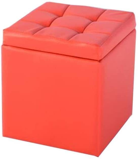 Rectangular Storage Ottoman Bench with Hinged Lid Leatherette Tufted Upholstered Bedroom Stool HENGXIAO (Color : Red, Size : 40cm)