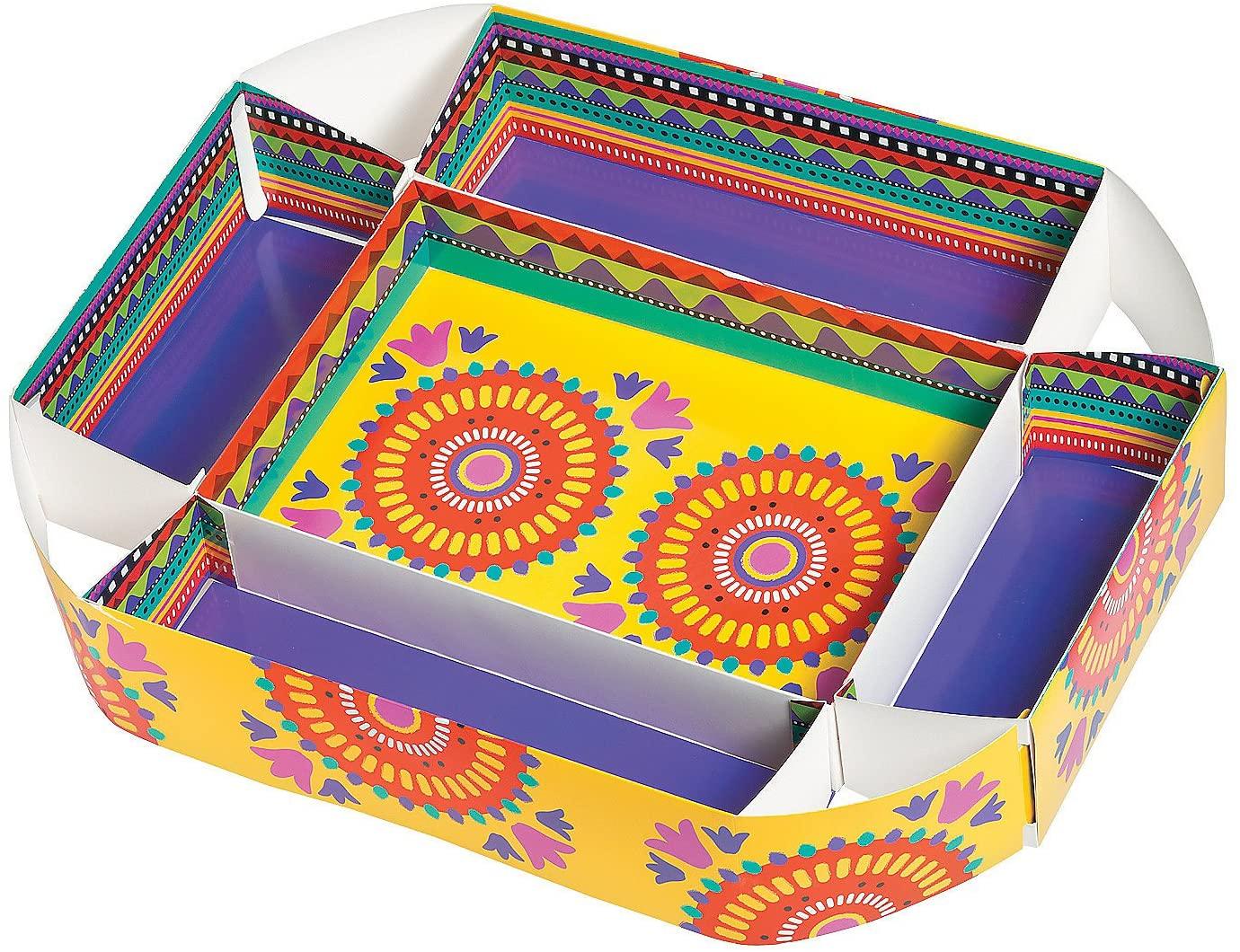 Fun Express - Fiesta Cardboard Snack Tray for Cinco de Mayo - Party Supplies - Serveware & Barware - Serving Platters - Cinco de Mayo - 1 Piece