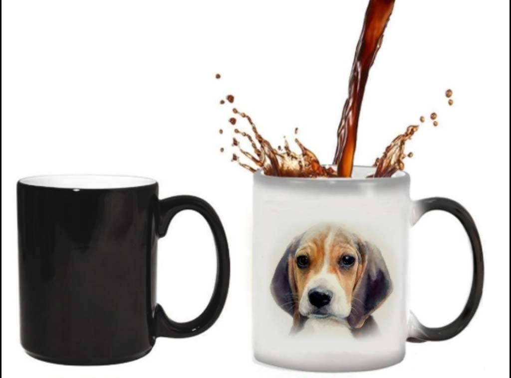 BestPetMugs- Color heat changing coffee mug | Heat sensitive magic mug | beagle puppy dog | oil painting design
