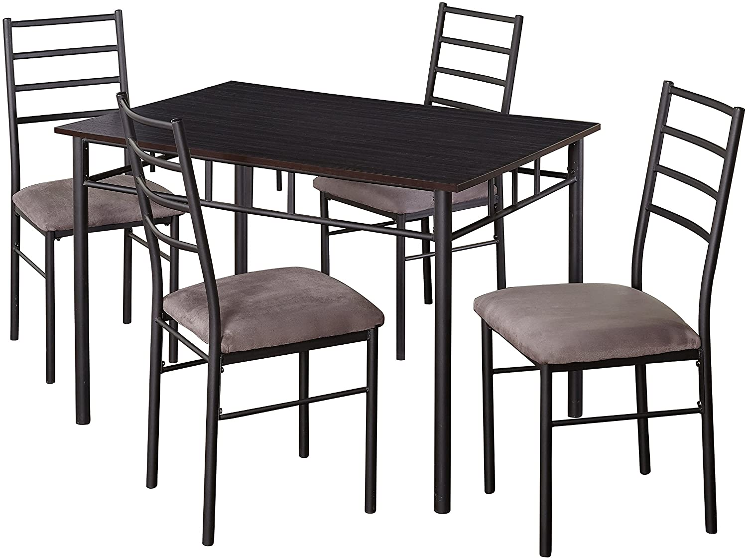 Target Marketing Systems Liv Collection Contemporary 5 Piece Metal Dining Room Table and Chairs Set with 1 Table and 4 Chairs, Black
