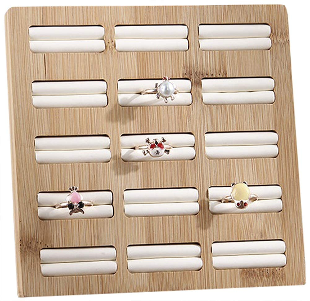 Funnuf Bamboo Wood Ring Earrings Display Trays Showcase Jewelry Organizer, 15 Slots Square White Leather