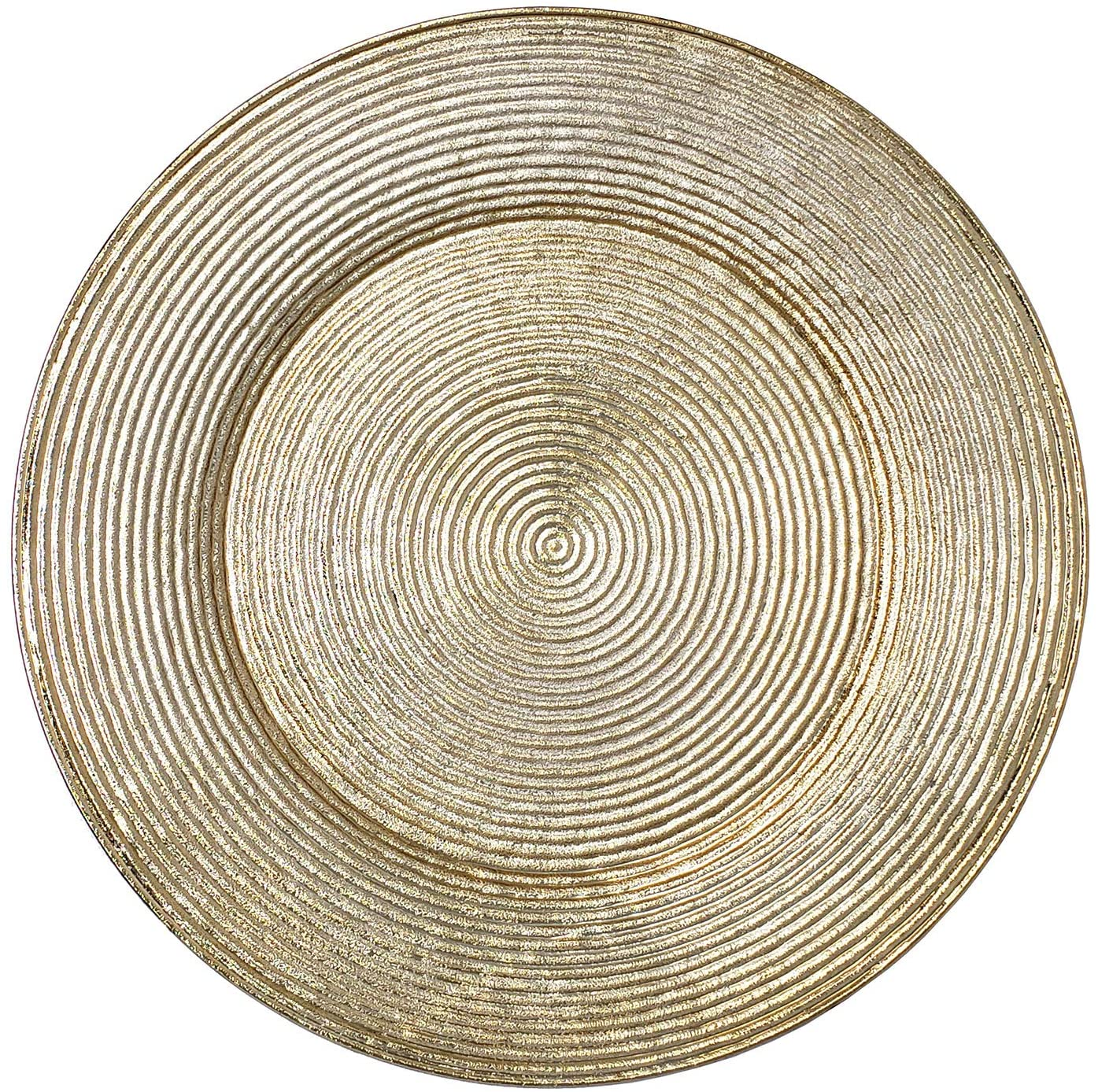Lovely Christmas Dinnerware Formal 13-Inch Spiral Round Charger Plate Wedding Receptions Anniversary Dinners Modern Appeal Plates (6, Gold Spiral)