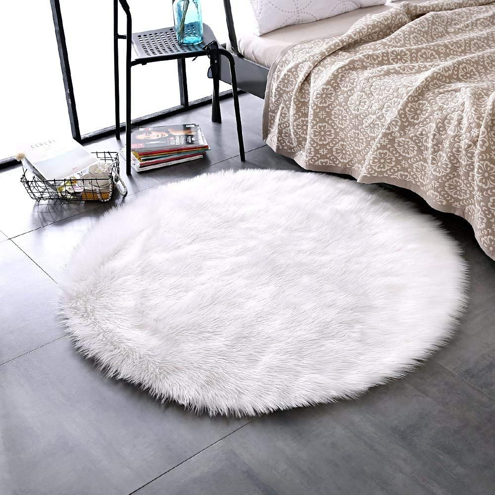 Luxury Soft Faux Sheepskin Fur Chair Couch Cover White Area Rug Bedroom Floor Sofa Living Room (3 x 3 ft Round, White)