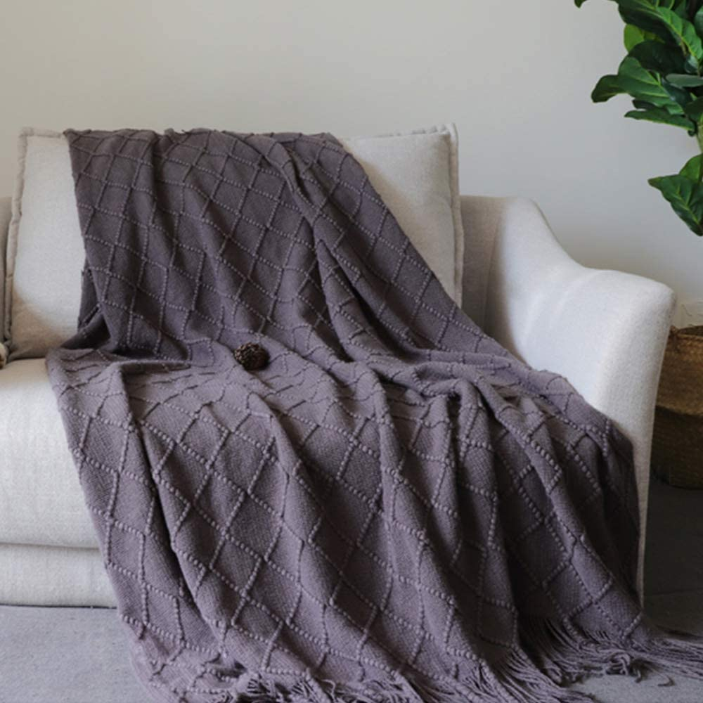 MEIQB Soft Throw Blanket Warm & Knitted Blankets with Decorative Fringe Lightweight for Bed or Sofa Decorative (Gray, 50