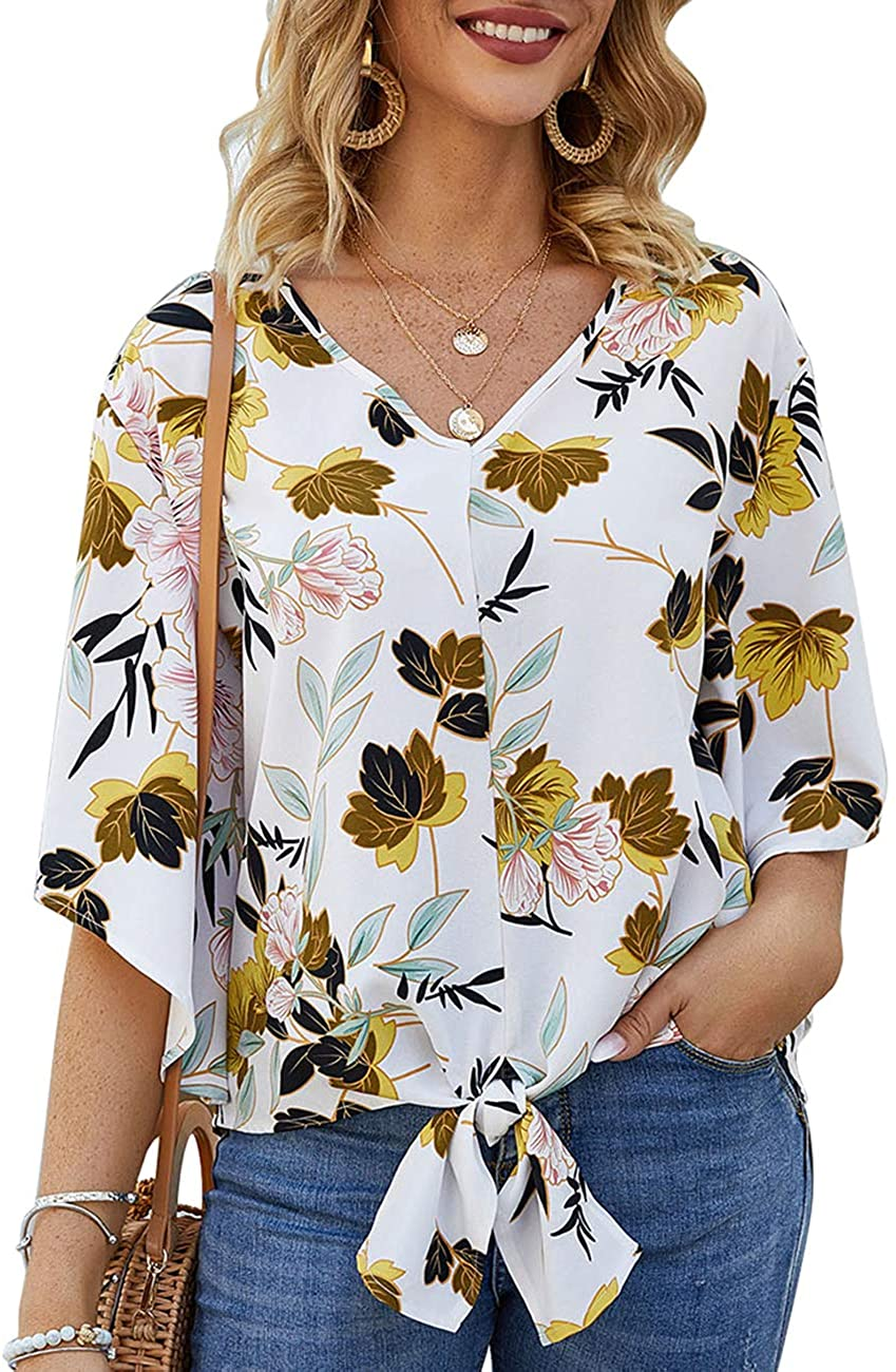 Womens V Neck Flare Sleeve Tie Knot Tops Short Sleeve Chiffon Blouses and Tops