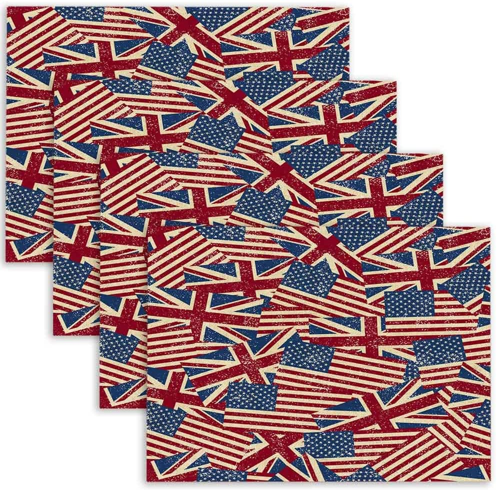 Mrcrypos Vintage Flags Patriotic Double Sided Table Placemats Set of 4 Non-Slip Durable Table Mats Heat Resistant Washable Eat Mat for Dining Kitchen 18X12 Inches