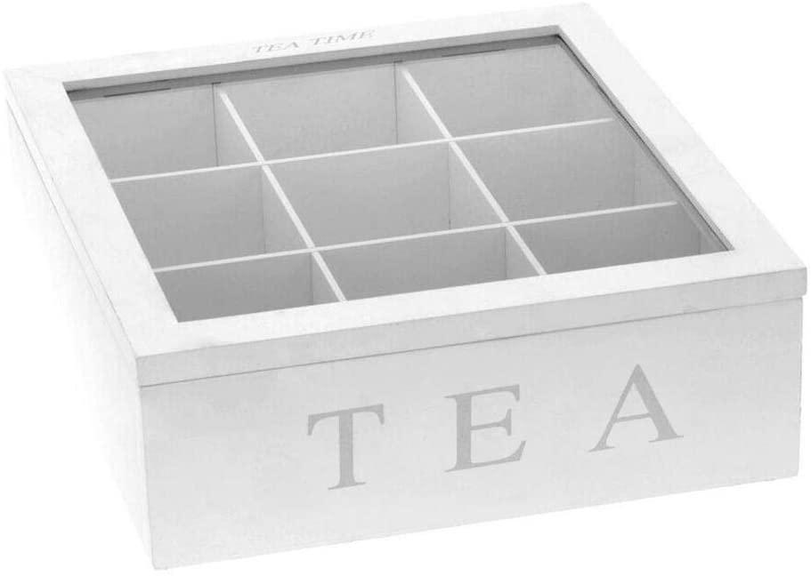 Alacritua Natural Bamboo Tea Box,tea Organizer,tea Box,tea Organizer For Tea Bags,Coffee Tea Bag Storage Holder Organizer,House Drawer Organizer Tea Box For Kitchen Cabinets,9 Compartments