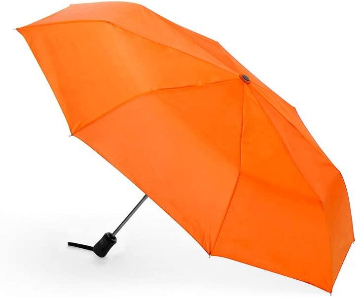 Travel Umbrella - Windproof Automatic Umbrella - Lightweight Portable Mini Compact Umbrellas - 8 Ribs Auto Open/Close Umbrella, With Matching Storage Sleeve (Orange)