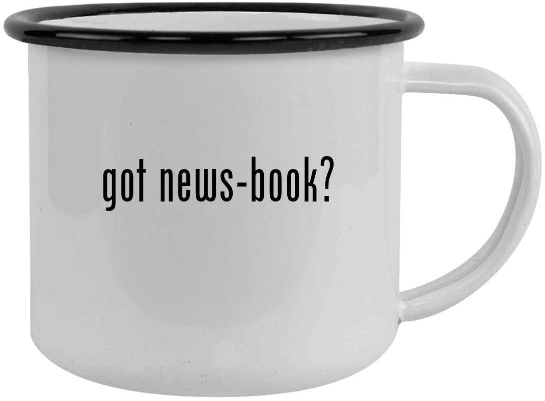 got news-book? - Sturdy 12oz Stainless Steel Camping Mug, Black