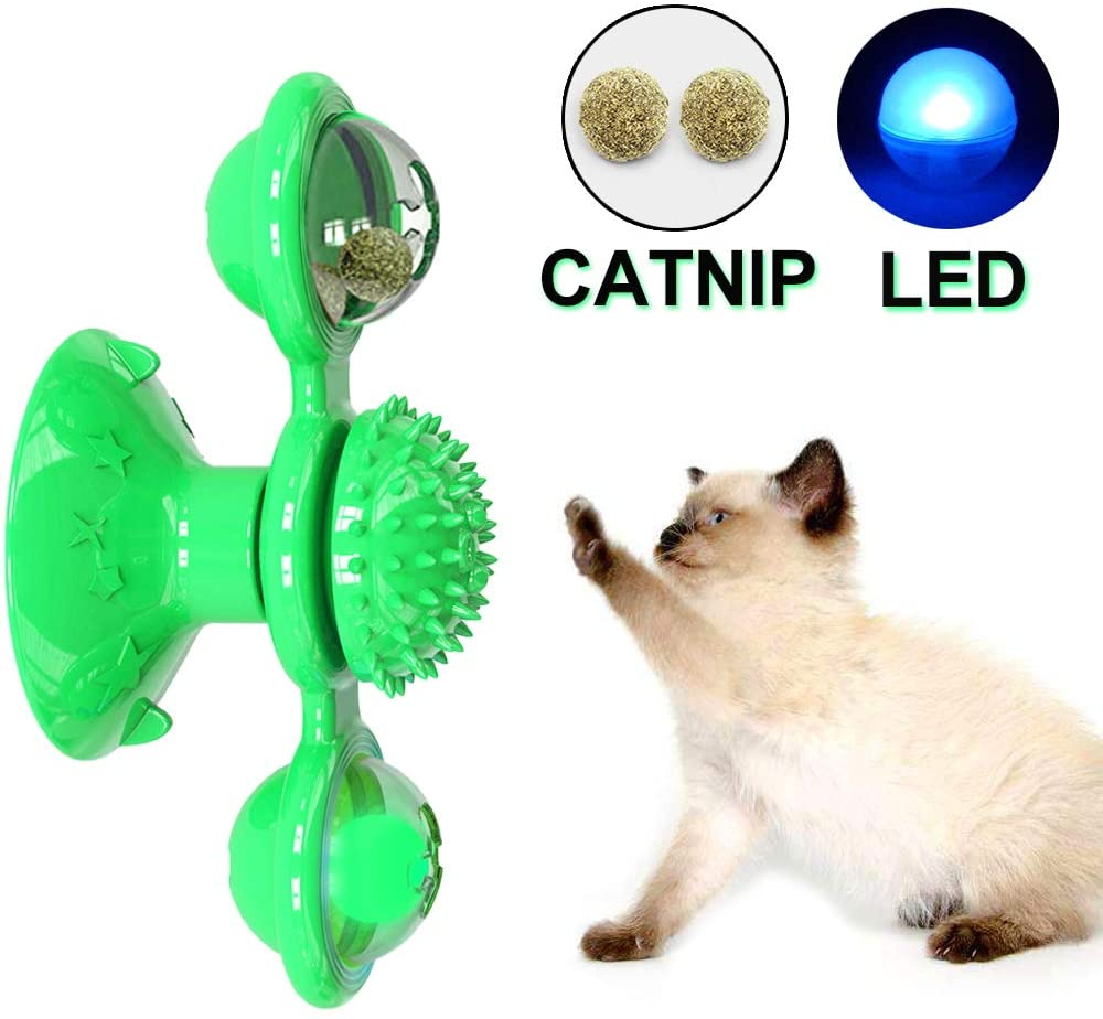 Amakunft Windmill Cat Toy with Led Ball and Catnip Ball, Cat Turntable Teasing Interactive Toy, Funny Kitten Windmill Ball, Massage Scratching Tickle
