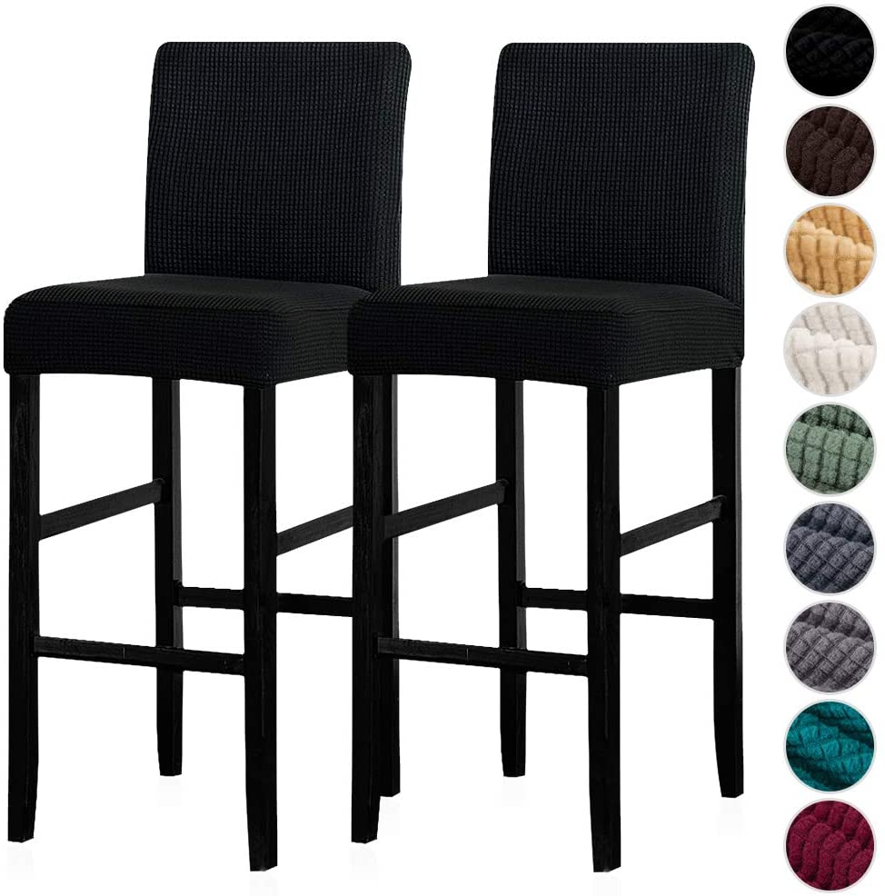Lellen Reusable Pub Counter Stool Chair Covers Slipcover Stretch Removable Washable Dining Room Chair Covers Set of 2(Black)