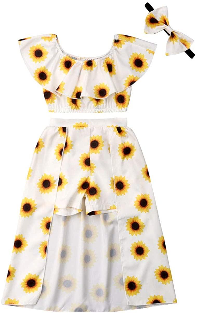 Toddler Kids Baby Girl Sunflower Print Shoulder Off Crop Top+Shorts Dress Skirts Set Summer Outfits Clothes