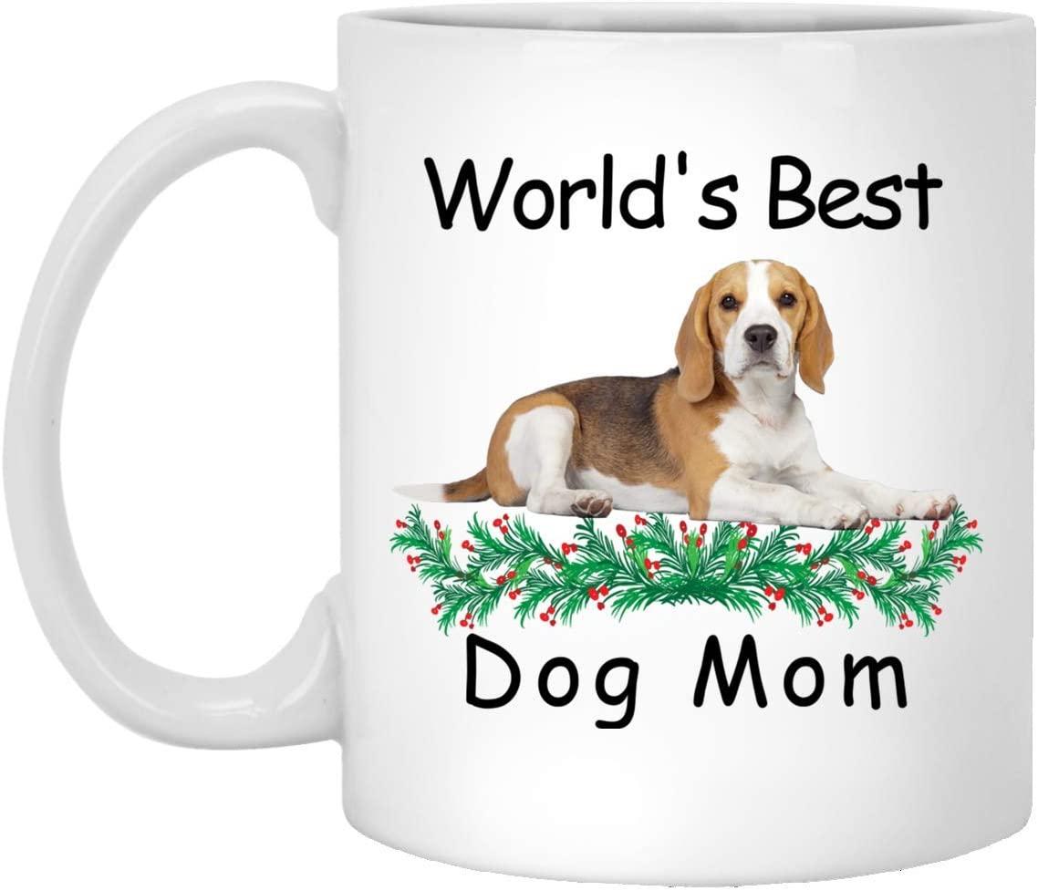 Funny Saying Gift For Pet Lovers Beagle Gold Grey Worlds Best Dog Mom Mug White 11oz
