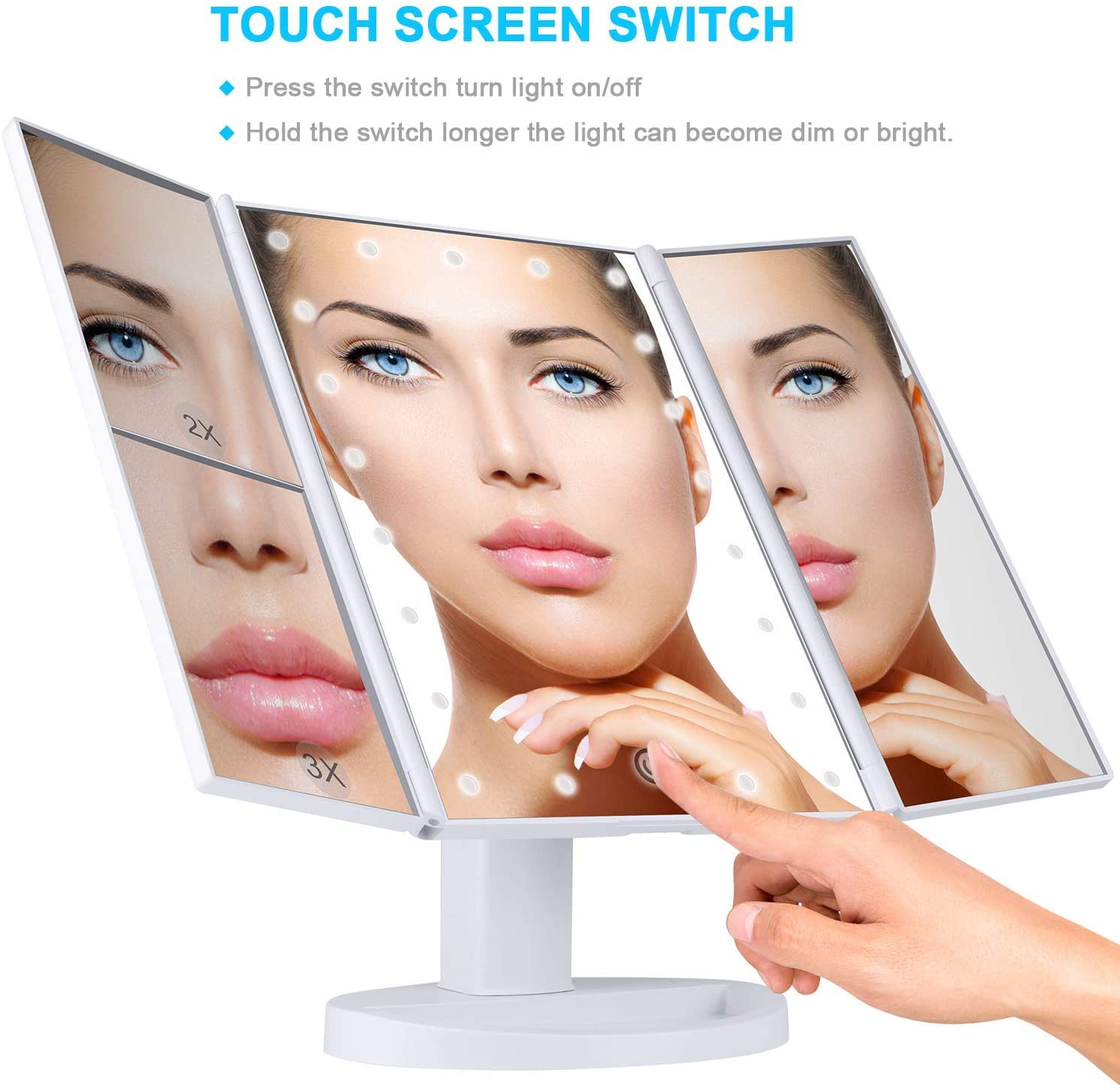 FEARLESS BEAUTY Makeup 21 Led Vanity Mirror with Lights, 1x 2X 3X Magnification, Touch Screen Switch, 180 Degree Rotation, Dual Power Supply, Portable Trifold Makeup Mirror