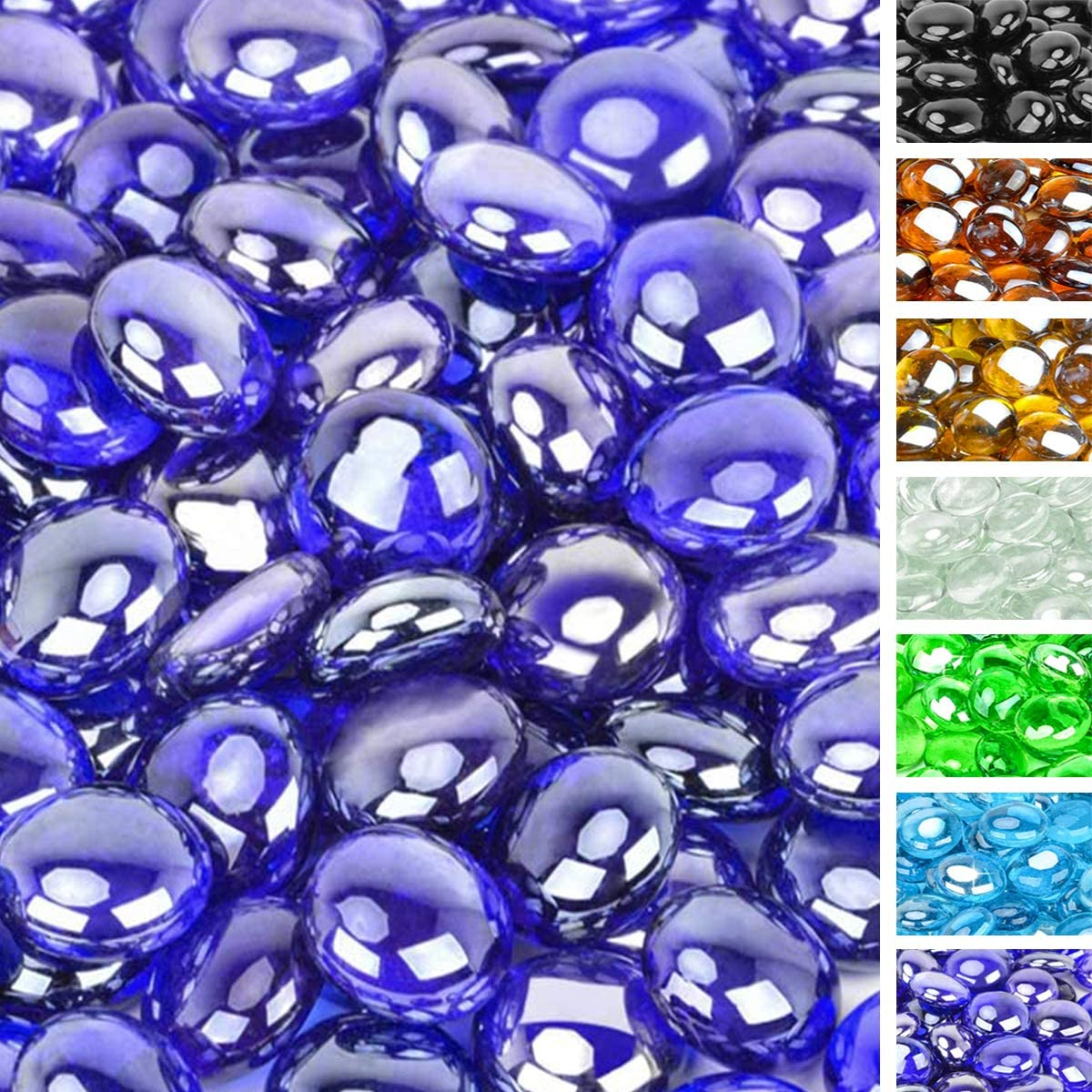 onlyfire 1/2 Inch Fire Glass Beads for Natural or Propane Fire Pit Fireplace and Landscaping, 10-Pound High Luster Royal Cobalt Blue
