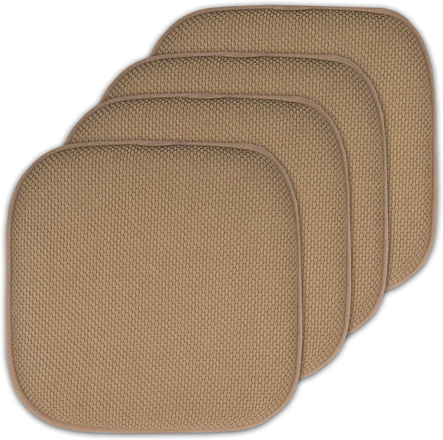 Sweet Home Collection 4 Pack Memory Foam Honeycomb Nonslip Back 16 x16 Chair/Seat Cushion Pad - CPMF-4PK-TAUPE