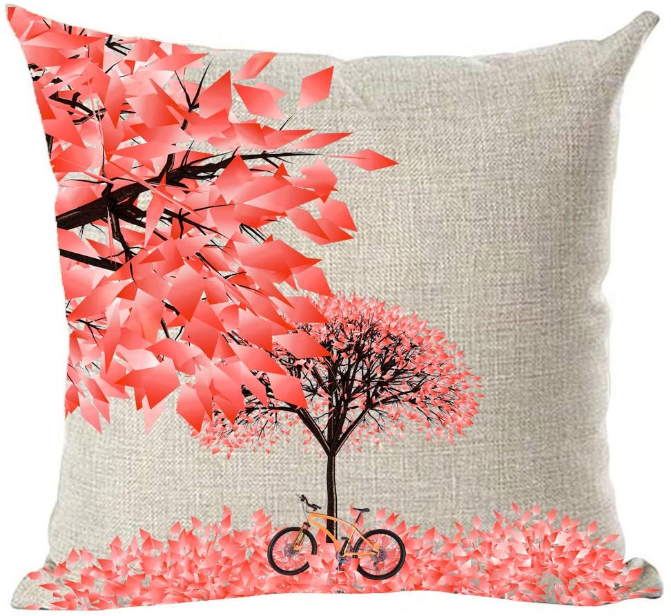 ramirar Hand Painted Watercolor Pink Maple Tree Leaves Bicycle Bike Autumn Fall Y'all Decorative Throw Pillow Cover Case Cushion Home Living Room Bed Sofa Car Cotton Linen Square 18 x 18 Inches