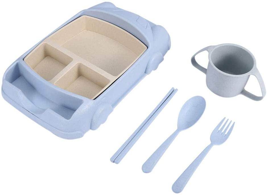 Bowl Set Wheat Straw Tableware Cartoon Dish Plate Bowl Set Fork Spoon Chopsticks For children(Blue)